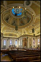 Dome and interior of Cathedral Saint Joseph. San Jose, California, USA (color)
