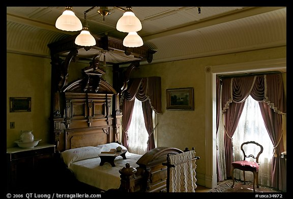 Room where Mrs Winchester died. Winchester Mystery House, San Jose, California, USA (color)