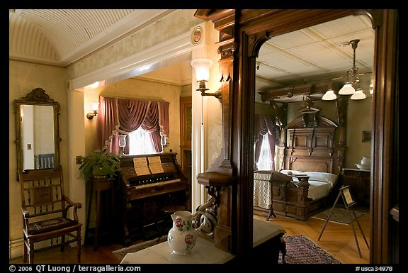 Mirror and last bedroom of Sarah Winchester. Winchester Mystery House, San Jose, California, USA (color)