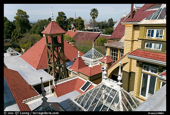 Rooftops. Winchester Mystery House, San Jose, California, USA (color)