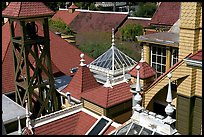 Rooftop detail. Winchester Mystery House, San Jose, California, USA (color)