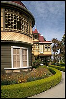 Mansion wing with door to nowhere in the background. Winchester Mystery House, San Jose, California, USA (color)