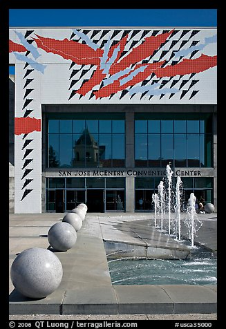 McEnery convention center and reflection of San Jose Civic Auditorium. San Jose, California, USA (color)