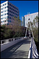 Footbridge on the Guadalupe River. San Jose, California, USA (color)