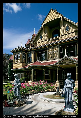 Statues, fountain, and facade. Winchester Mystery House, San Jose, California, USA (color)