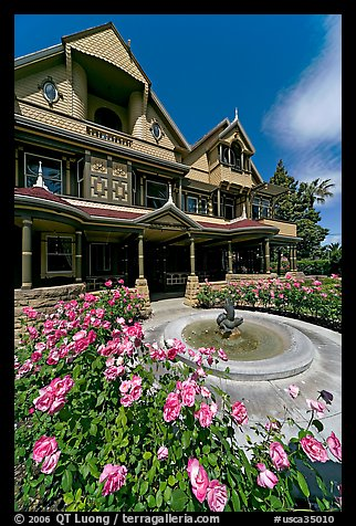 Roses and facade. Winchester Mystery House, San Jose, California, USA (color)