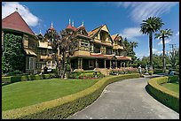 Gardens and facade. Winchester Mystery House, San Jose, California, USA