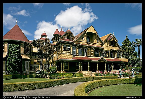 Gardens and facade, morning. Winchester Mystery House, San Jose, California, USA (color)