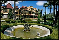 Basin, gardens and facade. Winchester Mystery House, San Jose, California, USA (color)