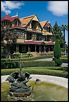 Fountain and facade. Winchester Mystery House, San Jose, California, USA ( color)