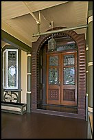 Main entrance doors, always locked. Winchester Mystery House, San Jose, California, USA (color)