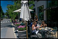 Street and outdoor restaurant tables. Santana Row, San Jose, California, USA ( color)
