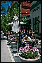 Outdoor restaurant tables. Santana Row, San Jose, California, USA