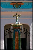 Statue and fountain, Rosicrucian Park. San Jose, California, USA (color)