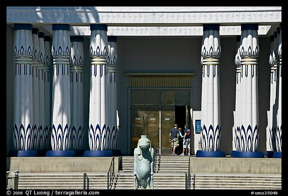 Facade of the  Rosicrucian  Egyptian Museum  with visitors entering. San Jose, California, USA