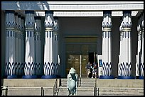 Facade of the  Rosicrucian  Egyptian Museum  with tourists entering. San Jose, California, USA ( color)