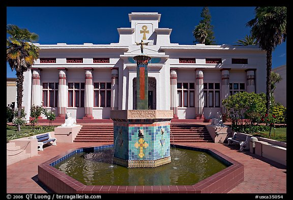 Fountain and temple, Rosicrucian Park. San Jose, California, USA (color)