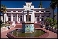 Fountain and temple, Rosicrucian Park. San Jose, California, USA ( color)