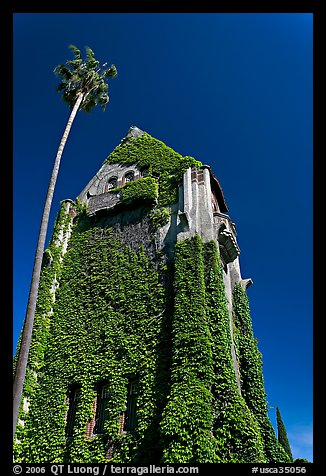 Ivy-covered Tower Hall, San Jose State University. San Jose, California, USA (color)