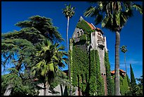 Tower Hall and trees, San Jose State University. San Jose, California, USA (color)