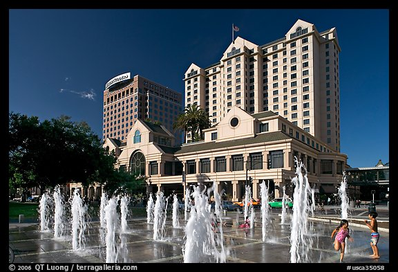 Picture Photo Fountain On Plaza De Cesar Chavez And Fairmont Hotel San Jose California Usa