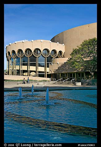 Basin and center for performing arts, late afternoon. San Jose, California, USA (color)