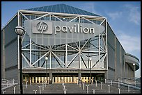 Facade of the HP Pavilion, late afternoon. San Jose, California, USA (color)