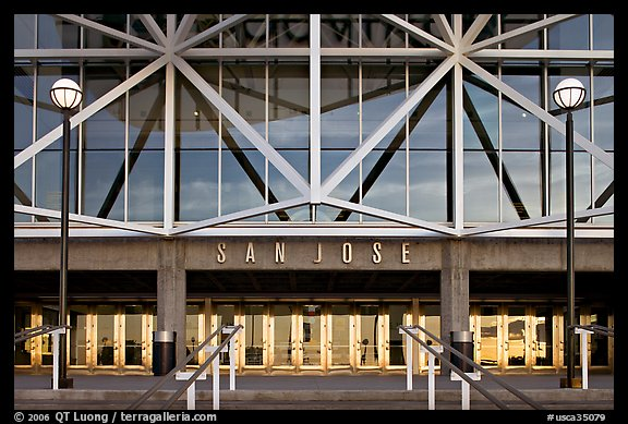 Facade of HP pavilion with San Jose sign. San Jose, California, USA (color)