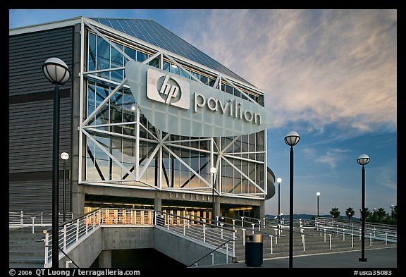 Arena (now HP Pavilion at San Jose), sunset. San Jose, California, USA