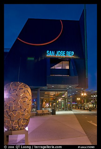 San Jose Repertory Theater at dusk. San Jose, California, USA