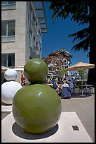 Sculpture  and outdoor restaurant terrace, Castro Street, Mountain View. California, USA (color)
