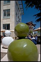 Sculptures and outdoor lunch, Castro Street, Mountain View. California, USA (color)