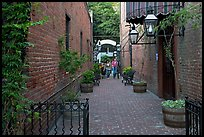 Alley with red brick walls, San Pedro Square. San Jose, California, USA