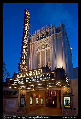 California Theatre at dusk. San Jose, California, USA (color)
