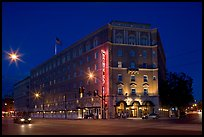 Hotel Sainte Claire at night. San Jose, California, USA