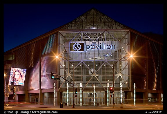 HP Pavilion and street at night. San Jose, California, USA (color)