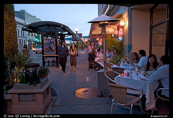 Outdoor dining, Castro Street, Mountain View. California, USA