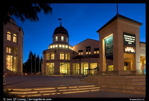 Center for Performing Arts at dusk, Castro Street, Mountain View. California, USA