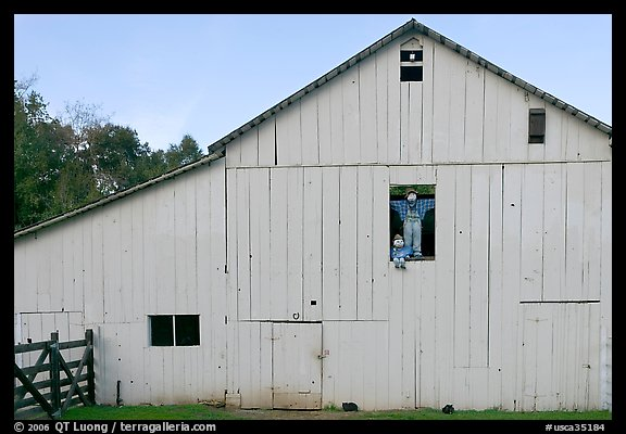 Barn with figures in window and cats, Happy Hollow Farm, Rancho San Antonio Park, Los Altos. California, USA