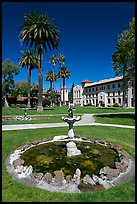 Fountain and lawn near mission, Santa Clara University. Santa Clara,  California, USA