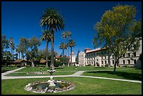 Fountain and gardens near mission, Santa Clara University. Santa Clara,  California, USA (color)