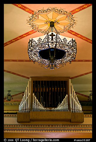 Organ and lamp, Mission Santa Clara de Asis. Santa Clara,  California, USA (color)