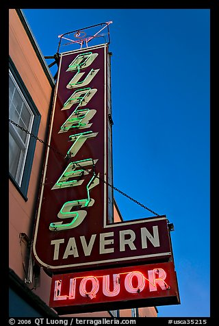 Neon sign for Duarte Tavern, Pescadero. San Mateo County, California, USA