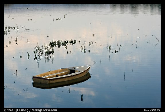 Rowboat in Lake Lagunata. Stanford University, California, USA (color)