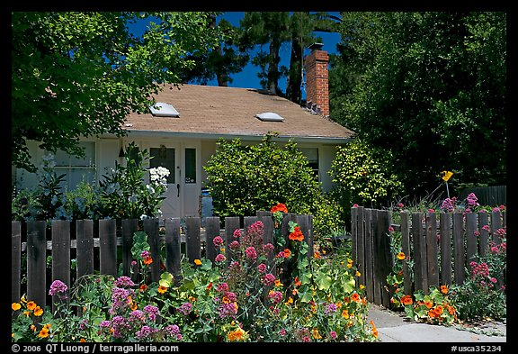 House with flowers in front yard. Menlo Park,  California, USA (color)