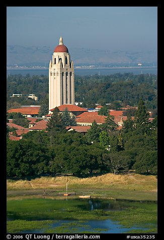 Hoover Tower, Campus, and Lake Lagunata, afternoon. Stanford University, California, USA