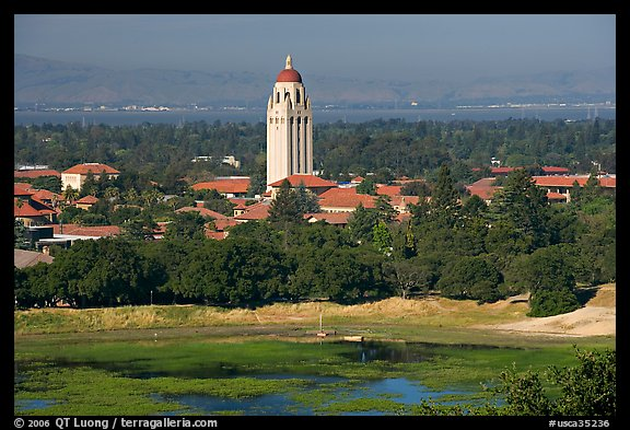 Campus, Hoover Tower, and Lake Lagunata. Stanford University, California, USA (color)