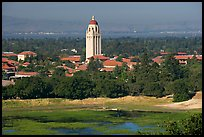 Campus, Hoover Tower, and Lake Lagunata. Stanford University, California, USA