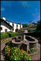 Fountain and garden, Allied Arts Guild. Menlo Park,  California, USA (color)