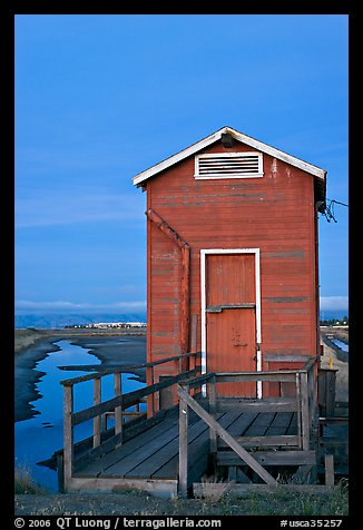 Red shack at dusk, Bayfront Park. Menlo Park,  California, USA (color)